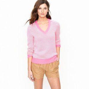 J. Crew Cotton V-neck Sweater in Neon Stripe